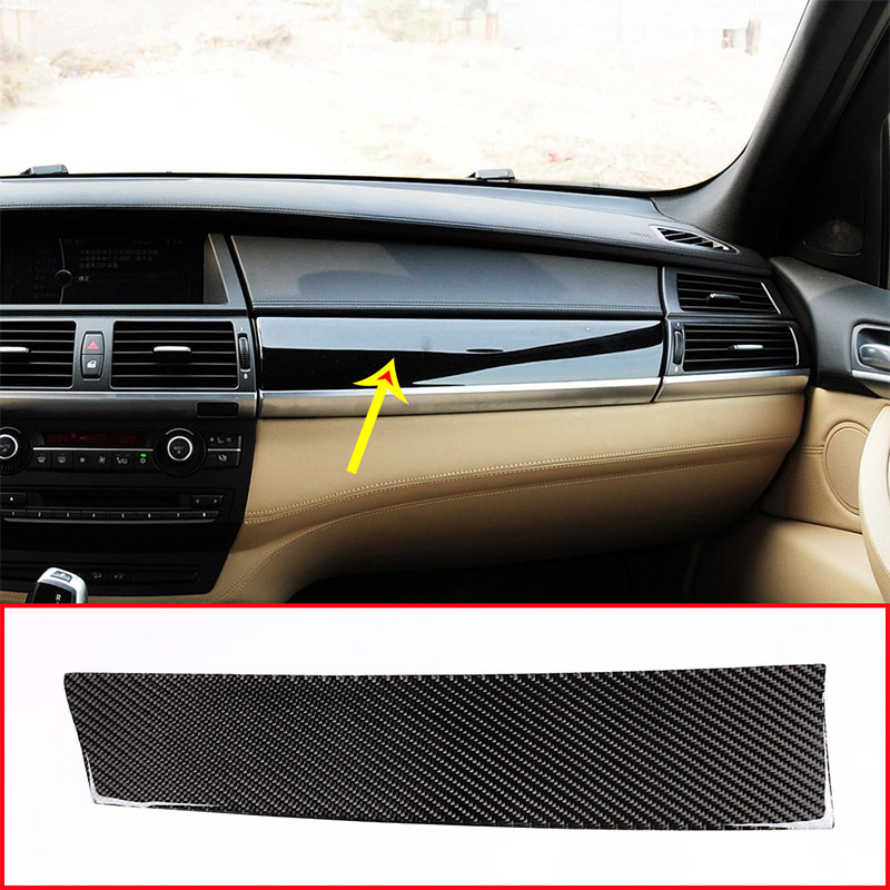 Real Carbon Fiber Car Passenger Dashboard Panel Cover Sticker For BMW X5 E70 X6 E71 2008-2013 Left Hand Drive And RHD