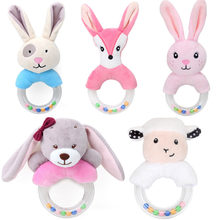 Cute Baby Rattle Toys Rabbit Plush Baby Cartoon Bed Toys for baby toys 0-12 months Educational baby rattle Toy Rabbit Hand Bells(China)