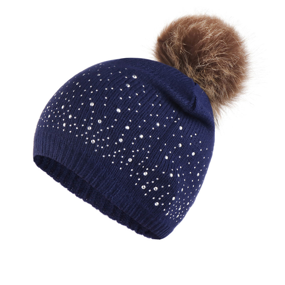 Women Autumn Winter Daily Knitted Hat Casual Soft Windproof Warm Rhinestone Studded Outdoor Hemming Fashion Elastic Plush Ball