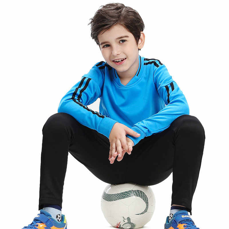 Winter Thick Sportswear Children Long Sleeve Soccer Uniforms Kids Football Jerseys Training Suit Tracksuits Set Soccer Jerseys