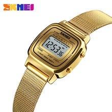 Skmei relógio digital feminino à prova dágua, relógio esportivo de luxo com 3 barras, visor pequeno, relógio digital para mulheres 1252
