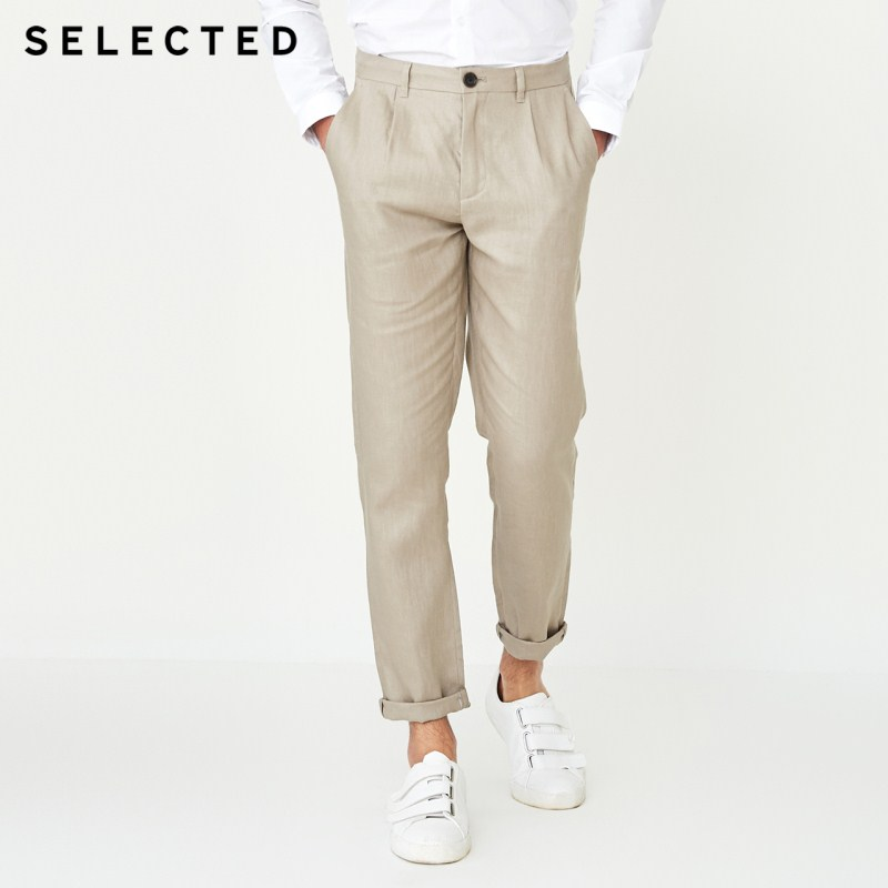 SELECTED   Autumn New Male Linen Straight Color Business Casual Pants S|418314506