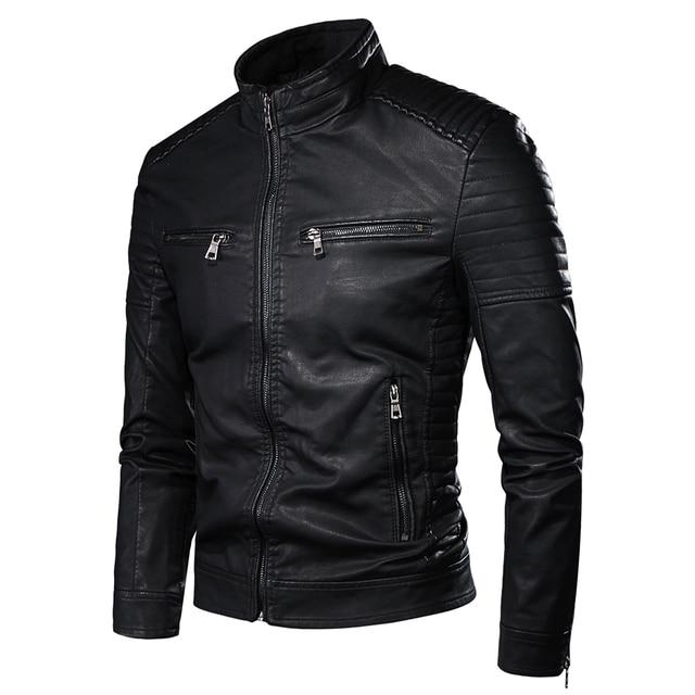 Men Spring New Motorcycle Causal Vintage Leather Jacket Coat Men Autumn Outfit Fashion Biker Pocket Design PU Leather Jacket Men 3