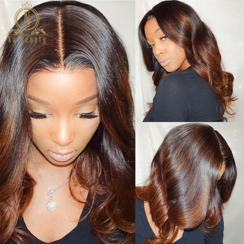 Brown Ombre Human Hair Wig 13x6 Lace Front Human Hair Wigs 360 Lace Frontal Wig Body Wave Full Lace Human Hair Wigs Nabeauty 180