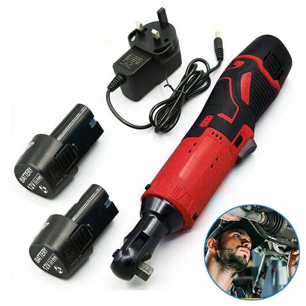 WENXING Electric Wrench 3 8   12 42V 90     45 60Nm Right Ratchet Angle Wrench Power Tool  with 2 BatterIies Charger UK US EU plug