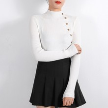 Women Pullovers Sweater Knitted Autumn Winter Spring Fashion Sexy Elegant Buttons Casual Black