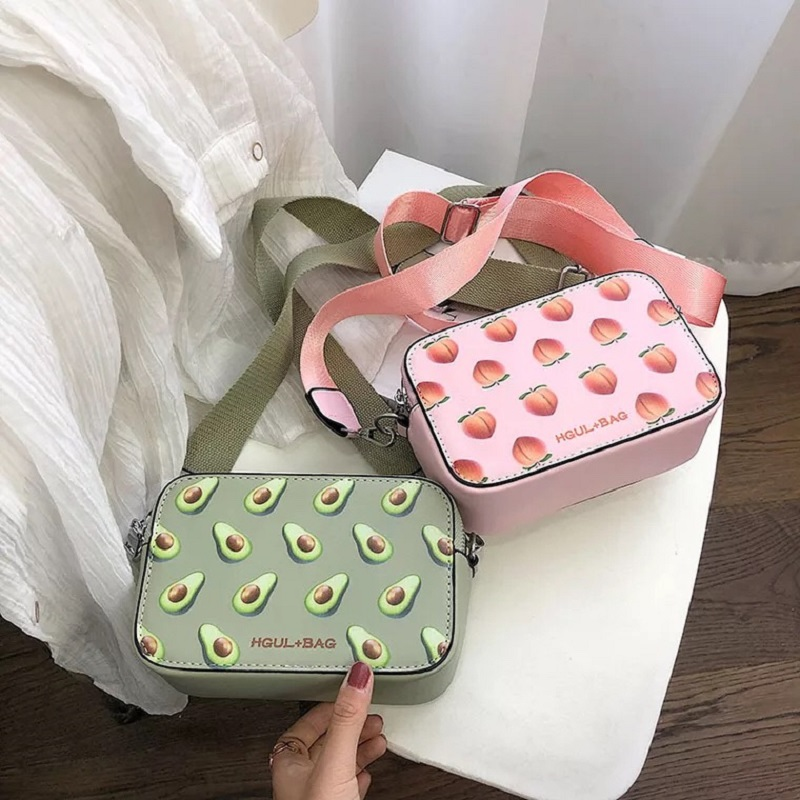 Litthing Fruit Avocado Handbag Small Box Shape Shoulder Bag Pink Strawberry Crossbody Bag Watermelon Bag Fashion Messenger Bag