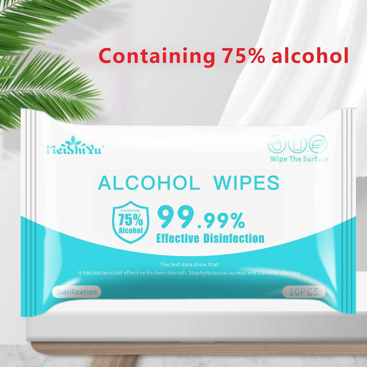 10pcs Portable Disinfection Antiseptic Pads Alcohol Swabs Wet Wipes Skin Cleaning Care Sterilization Aid Cleaning Tissue Box