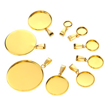10pcs Gold Stainless Steel Bases 6/8/10/12/14/16/18/20/25/30mm Cabochon Cameo Base Tray Bezel Blank Necklace Pendant DIY Jewelry