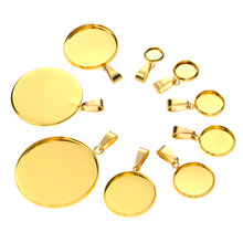 10 sztuk złota podstawy ze stali nierdzewnej 6/8/10/12/14/16/18/20/25/30mm Cabochon Cameo baza taca Bezel puste naszyjnik wisiorek DIY biżuteria