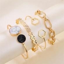 VKME – ensemble de Bracelets en métal doré pour femmes, 4 pièces, manchette en pierre, bijoux à la mode, chaîne épaisse ajustable