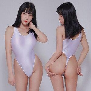 Image 5 - Leotardos de estilo Retro brillante para mujer, traje de baño femenino de dos piezas, de corte alto, con Tanga brillante