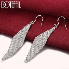 DOTEFFIL 925 ayar gümüş uzun ızgara yaprak şekli küpe Charm kadınlar takı moda düğün nişan parti hediye