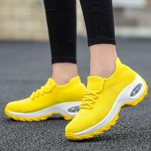 Mwy tênis femininos com salto confortável, calçado feminino casual plus size