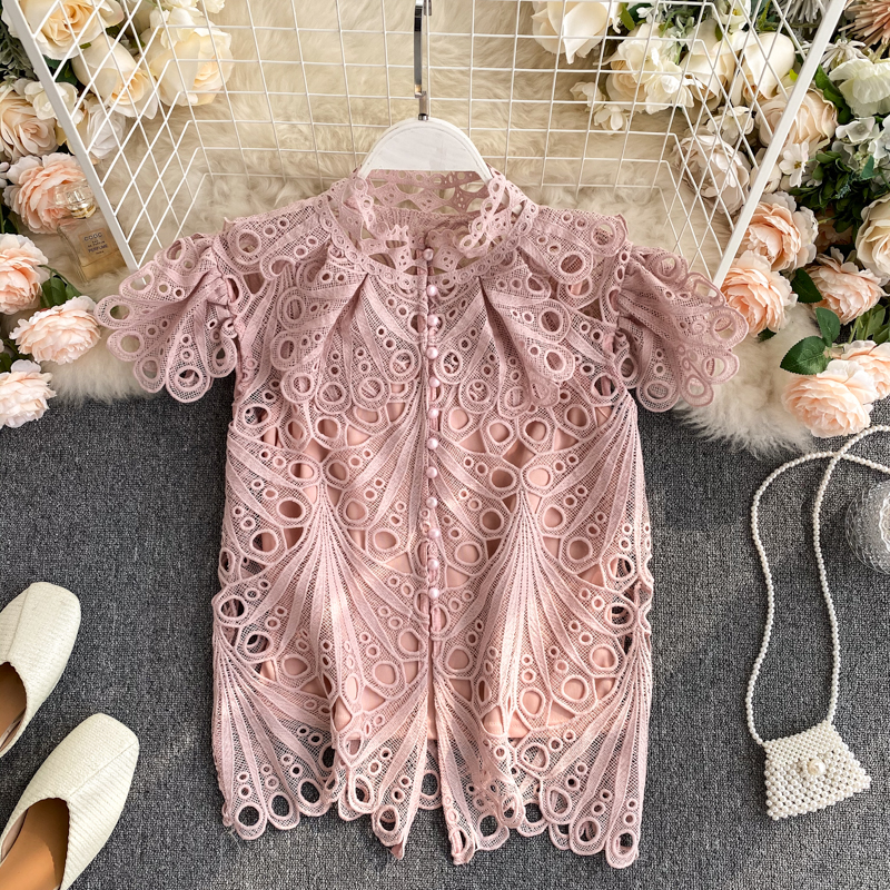 Vintage Women Top 2020 Summer New Stand Collar Single Breasted Slim Shirts Fashion Hollowing Out Lace Korean Woman Shirt Tops
