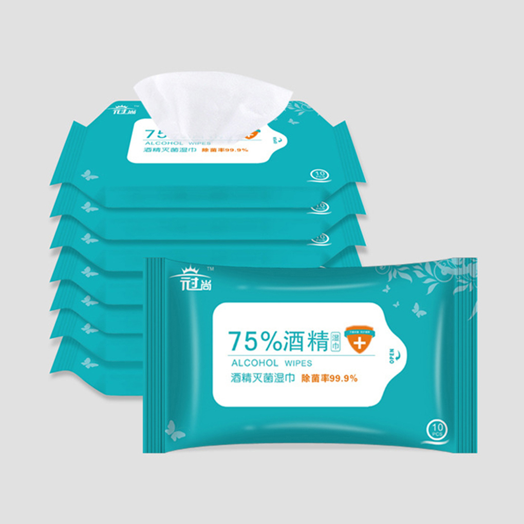 10 Pcs/Bag 75% Alcohol Cleaning Wet Wipes Hands Cleaning Cleansing Wet Tissue Wet Wipes Napkins Swabs Cleaning Tool