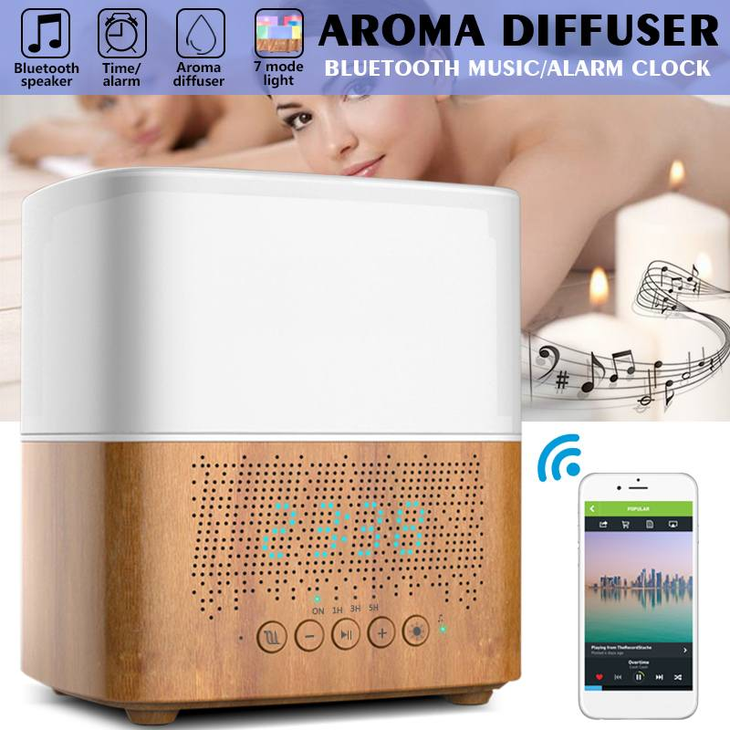 300ml sonic Diffusers Humidifiers Time Display,bluetooth Music,LED Night light,Alarm Clock for Home Office
