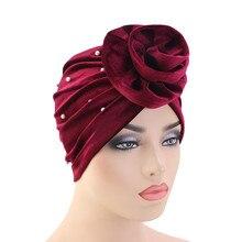 Helisopus New Velvet Headwear Fashion Turban Beaded Ladies Muslim Elastic Head Wraps Hair Loss Beanie Women Hair Accessories