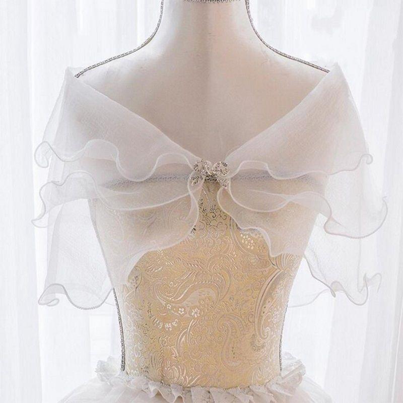 White Elegant Multi Layer Tulle Shawl Rhinestones Wedding Wrap Bridal Seersucker Short Coat Fairy Marriage Accessories