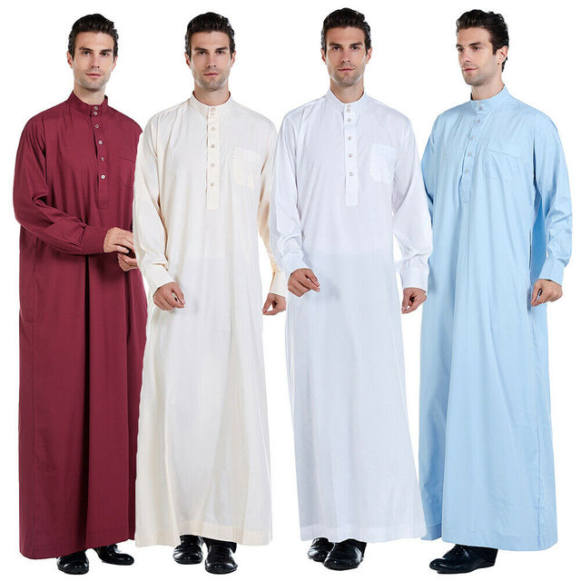 Hommes vêtements Robe à manches longues saoudien arabe Thobe Jubba Thoub homme Daffah caftan moyen orient islamique Thawb Jubba Thobe Robe musulmane