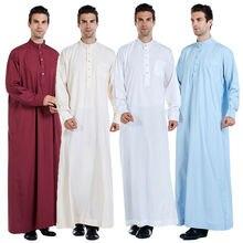 Mens Abbigliamento Abito Manica Lunga Arabia Thobe arabo Jubba Thoub Uomo Daffah Caftano Medio Oriente Islamico Thawb Jubba Thobe Musulmano vestito