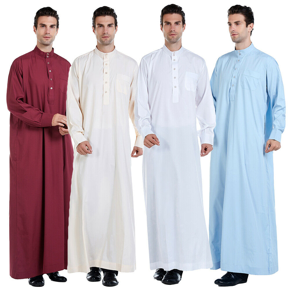 Mens Clothing Robe Long Sleeve Saudi Arab Thobe Jubba Thoub Man Daffah Kaftan Middle East Islamic Thawb Jubba Thobe Muslim Dress