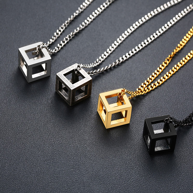 Vnox Retro Hollow Cube Pendant for Men Stainless Steel Square Vintage Necklace Punk Geometric Collier 24″ Chain