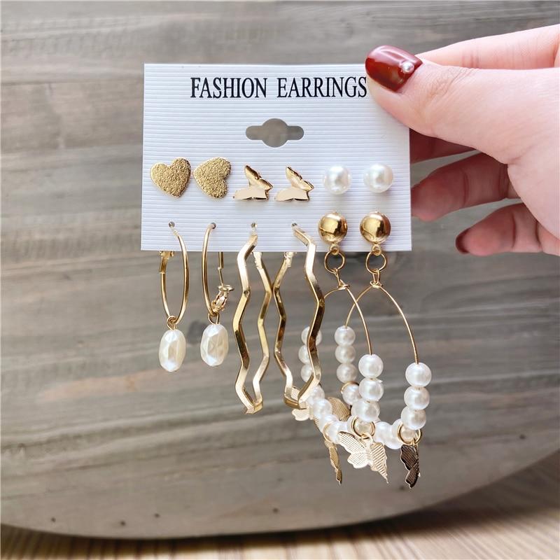 Sıcak satış inci Hoop küpe kadınlar için Vintage inci kelebek yuvarlak küpe seti 2021 kadın moda bildirimi