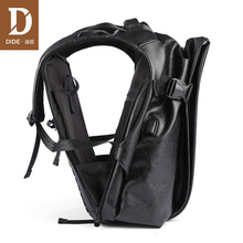 DIDE 2020 Male Backpack USB Charge Waterproof 15.6 inch Laptop Backpack Leather Travel Casual Vintage School Bag For Men Black