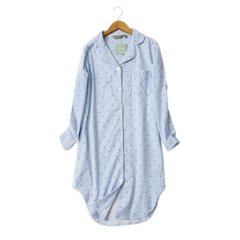 Plus Size Fashion Winter Night Dress Women Nightgowns Sleepwear Women Sleepshirts 100% Brushed Cotton Fresh Women Nightwear