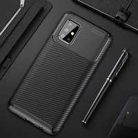 For Samsung Galaxy A71 Case Luxury Carbon Fiber Cover Shockproof Phone Case For Samsung A 71 Cover Matte Bumper Slim Flex Shell