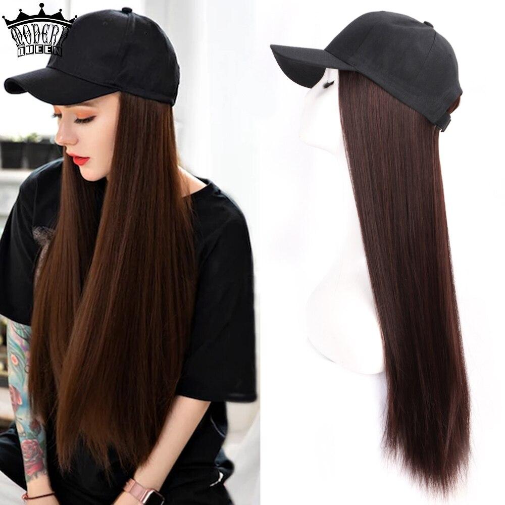 Длинная синтетическая бейсбольная кепка парик из натуральных волос черные/коричневые прямые парики естественное соединение синтетически...