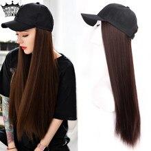 Peruca sintética longa do cabelo do boné de beisebol natural preto/brown perucas retas naturalmente conectam a peruca sintética do chapéu ajustável para a menina