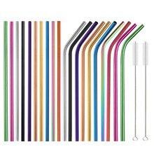 Pailles réutilisables en acier inoxydable livraison directe avec ensemble de brosses, 10 couleurs, avec ensemble de 20 pièces