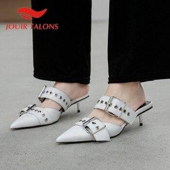 JOUIR TALONS 2020 New Arrivals Punk Genuine Leather Women Mules Sandals Thin Heel Pointed Toe Metal Decoration Dress Women Shoes