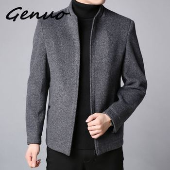 Genuo2019 Winter New Fashion Brand Coat Men Slim Fit Wool Peacoat Warm Jackets Wool Blends Overcoat Designer Casual Mens Clothes