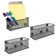 3PCS Magnetic Pencil Holder Magnetic Metal Mesh Pencil Holder Storage Basket for Holding Whiteboard & Office Accessories(China)