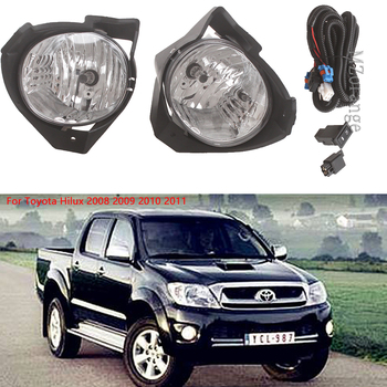 1 Pair Fog Light For Toyota Hilux 2008 2009 2010 2011 Replacement Car Front fog lamp Kit With Harness Bulb Switch Styling 55W free shipping fog light set fog lights lamp for toyota yaris hatchback vitz 2006 2008 clear lens pair set wiring kit