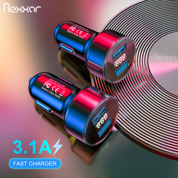 Dual USB Car Charger LED Display 3.1A Fast Charging For Xiaomi Samsung S10 iPhone 6 6S 7 8 Plus Tablet Mobile Phone Car-Charger
