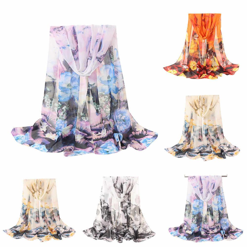 Mode Vrouwen Bloemen Printing Lange Soft Wrap Sjaal Vrouwelijke Chiffon Zijde Warm Sjaals Lady Soft Boho hijab sjaal sjaals for a dames