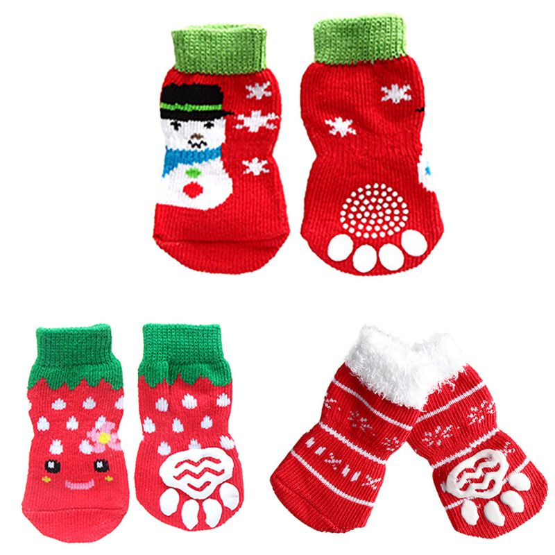 4 Pcs / Set Warm Sock Indoor Bottom Dog Socks Pet Dog Soft Cotton Anti-slip Knit Weave Christmas Dog Socks #8