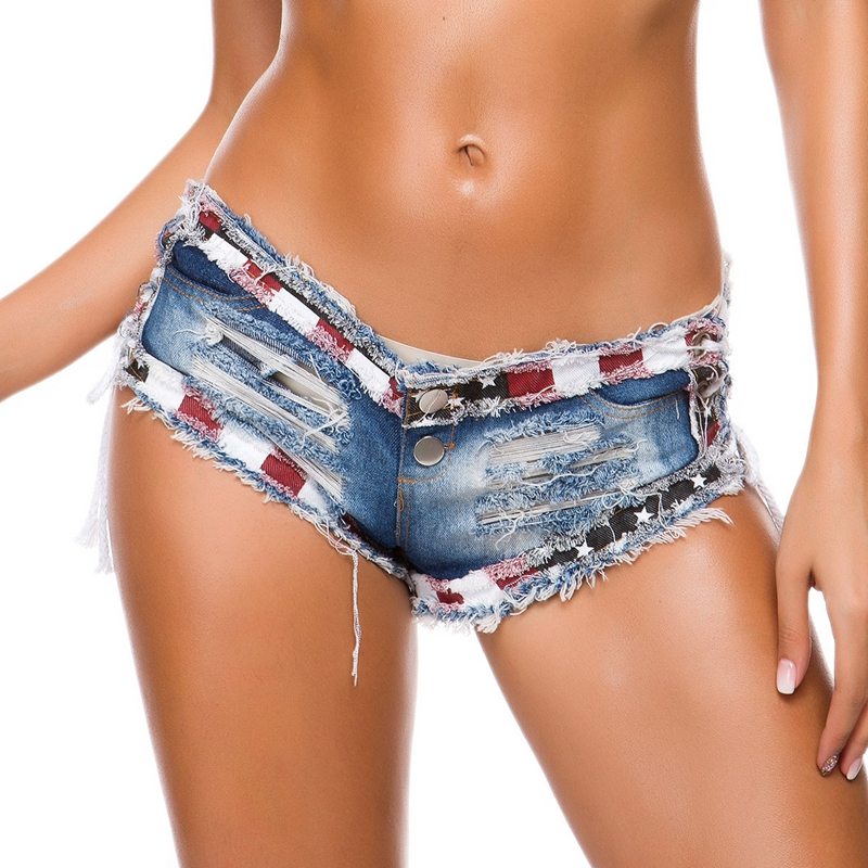 Women Summer Sexy Lace up ripped Shorts Jeans High Waist Hole Shorts Pole dance Clubwear Push Up Skinny Denim booty mini shorts
