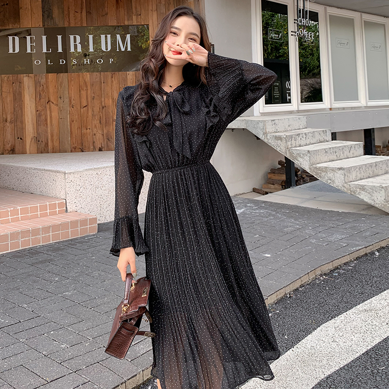 2020 New Fashion Spring Vintage Leaf Print Dot Maxi Dress Elegant Ruffle Boho Long Dress Chiffon Pleated Casual Dress Vestidos