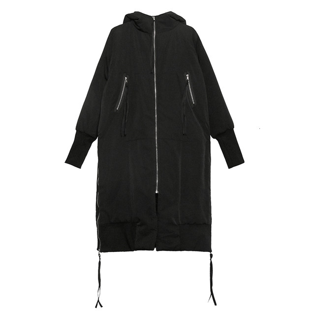 [EAM] Black Big Size Hooded Cotton-padded Coat Long Sleeve Loose Fit Women Parkas Fashion Tide New Autumn Winter 2019 1H886 26