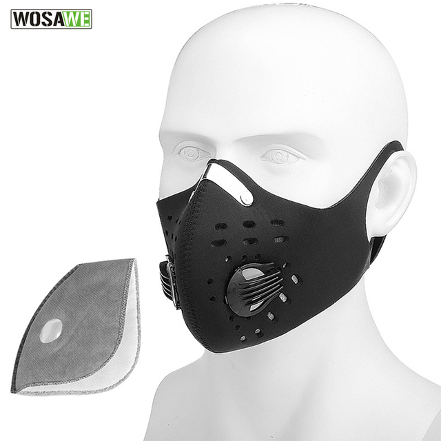 WOSAWE Motorcycle Mask Earhook PM2.5 Anti-Pollution Mask Filter Activated Carbon With Filter Bicycle MTB Breathable Face Mask