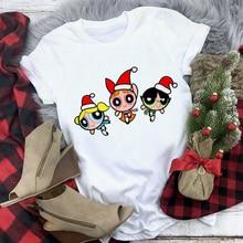 T-Shirt Female Christmas-Powerpuff Girls Tee Short-Sleeve Graphics Harajuku-Tops Clothes Women