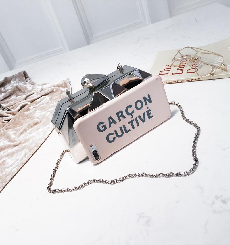 Hexagon Women Handbags Metal High Quality Clutches Fashion Geometric Mini Party Black Evening Purse Silver Bags Gold Box Clutch (7)