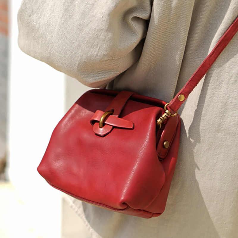 Eumoan Lederen Art Retro Slantbag, Handgemaakte Oude Arts Tas, Kleine Verse Koeienhuid Mini Meisje Zak