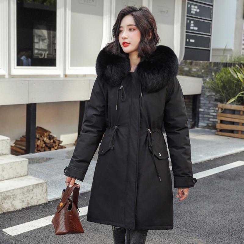 Hiver longue veste femmes 2020 chaud femme parkas grande taille mince avec col en fourrure à capuche style coréen épais manteau femme miegofce