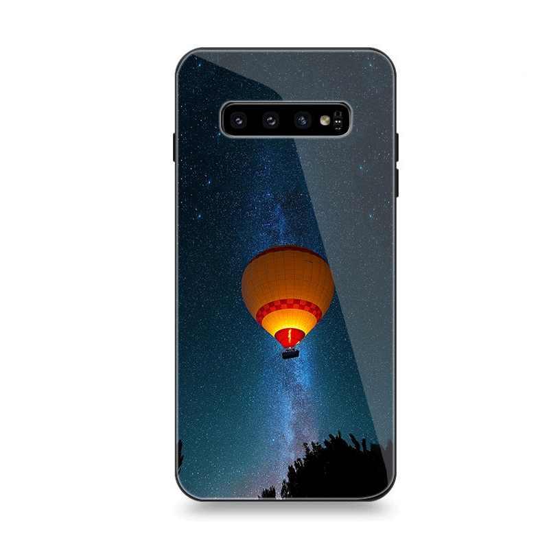 Caixa do telefone De Vidro Para Samsung A10 A20 A30 A40 A50 A60 A70 S7 Borda S8 S9 S10 Além Da Tampa Do Balão de Ar Quente